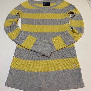 VGUC! WOMEN'S AEO THERMAL STRIPED IN GREY & YELLOW